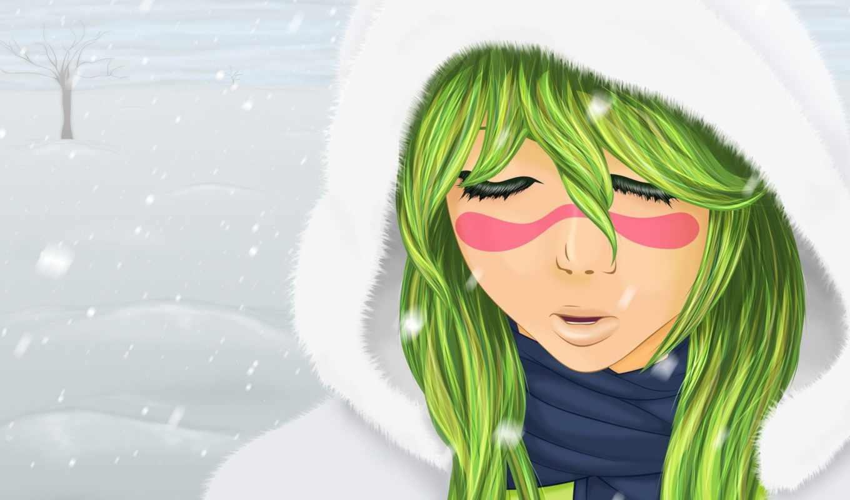 anime, девушка, волосами, зелёными,