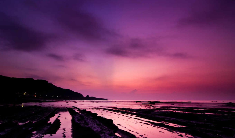небо, ночь, огонь, purple, desktop, фон,
