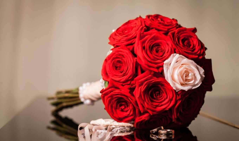 bouquet, цветы, розы, кольца,