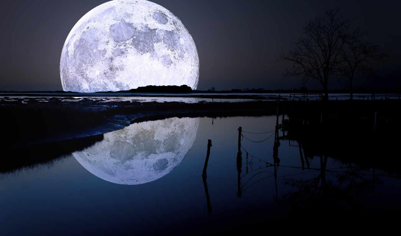 отражение, пейзаж, ночной, заход, небо, вода, луна,