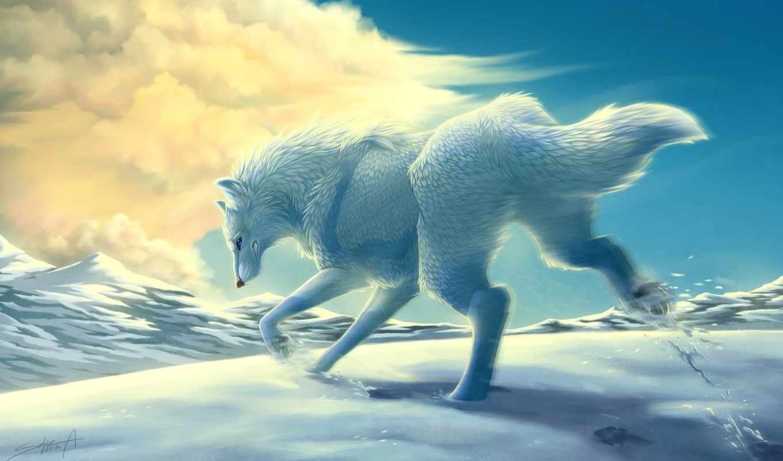 волк, white, снег, art, winter, transparentghost, горы, облака, run, животные,