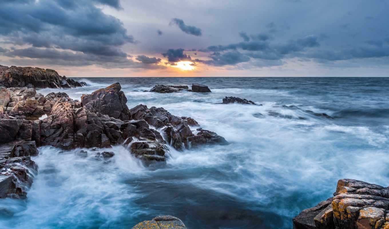 ,закат, море, скалы, небо