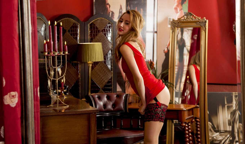 ,девушка,красное белье, чулки, секси,