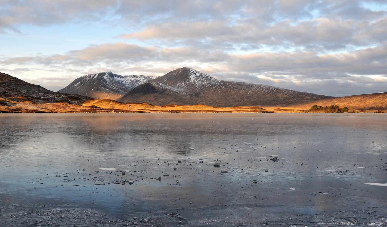 горы, облака, река, небо, природа, воде, замёрзшее, лед, озеро,