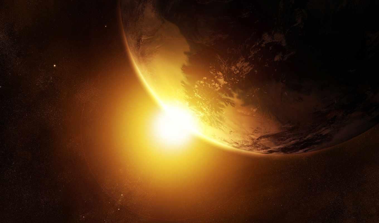 space, картинка, планета, new, ipad, вспышка, sunrise, звезды, замля, photo, fantasy, retina, картинку, download, солнце,