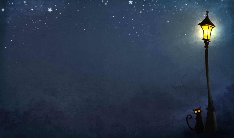 фонарь, ночь, кошки, картинка, картинку, кнопкой, правой,