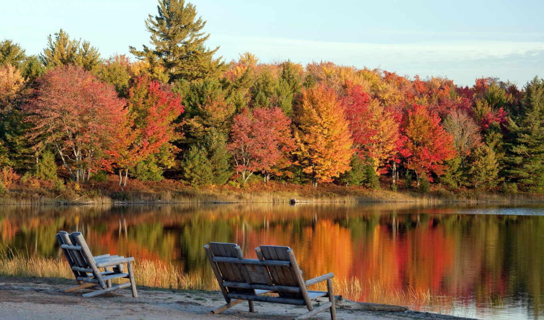 кресла, осень, пейзаж, озеро, фото, мотивы, осенние,