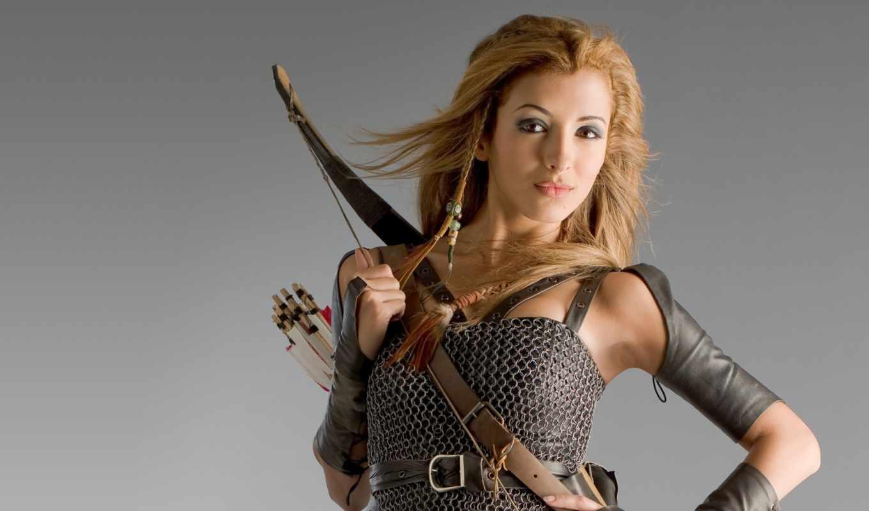 лук, стрелы, девушка, оружие, art,