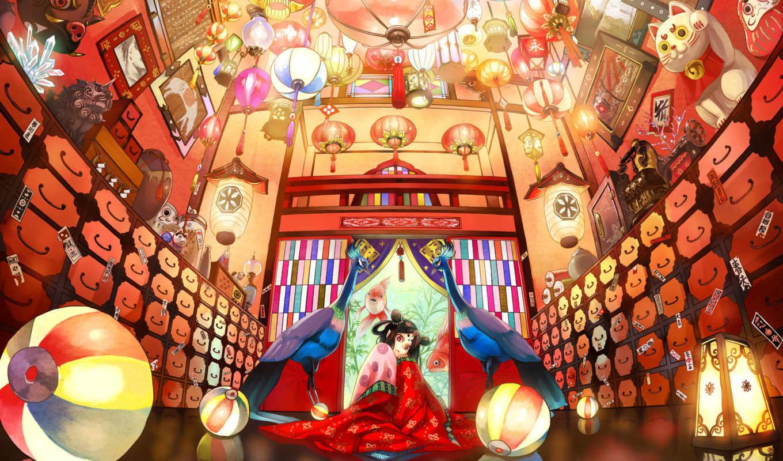 anime, интерьер, кимоно, витражи, статуэтки, фонари, картины, павлины, рыбы,