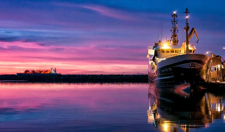 море, корабль, закат, небо, корабли, water,