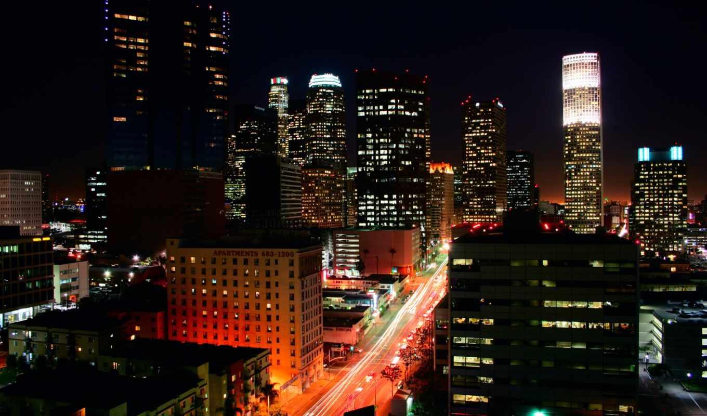 los, angeles, огни, ночь, город,
