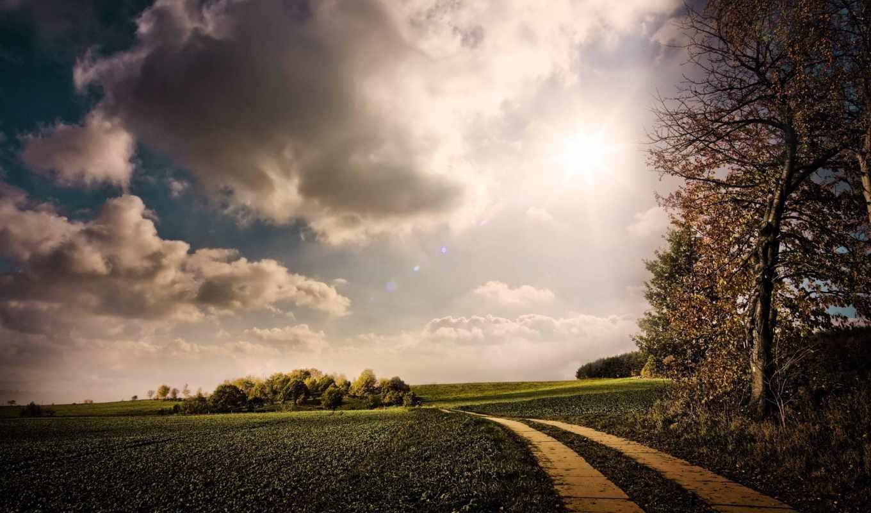 дорога, поле, проселочная, небо,