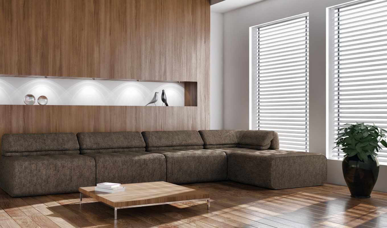 диван, окно, паркет, столик, растение, статуэтки, room,