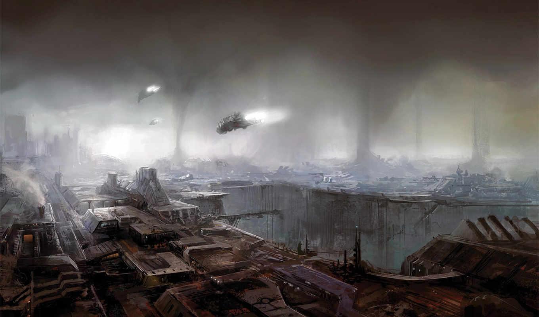 корабли, будущее, рисунок, borkur, eiriksson, art, concept, fantasy, небоскребов, hat,