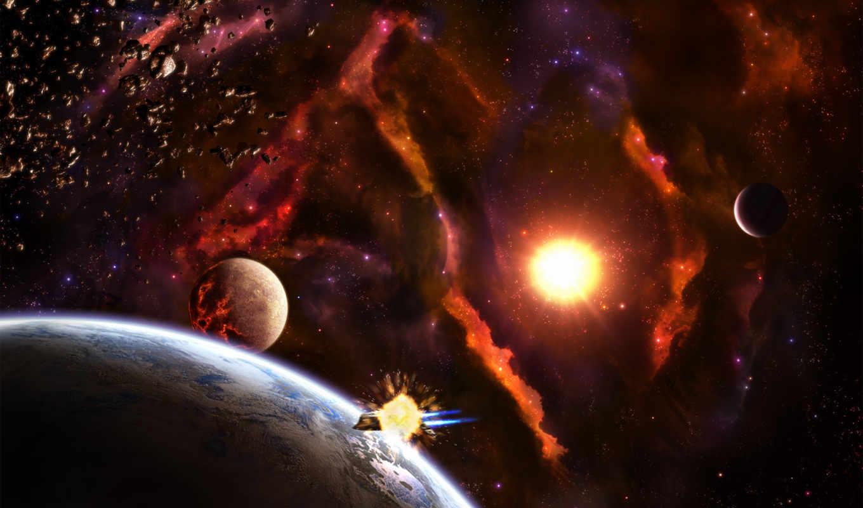 космос, земля, планеты, солнце, корабль,