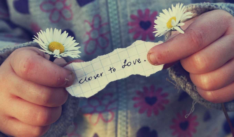 надпись, любовь, руки, ребенок, ромашки, кофта