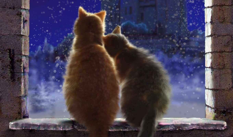 steam, winter, окно, снег, windowsill, арта, illustrator, castle, вечер, кот, postcard