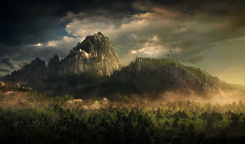 landscape, горы, облака, лес, fantasy,