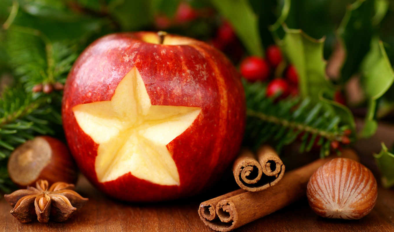 christmas, new, decor, year, cinnamon, desktop, apple, hazelnuts, mac, pine,