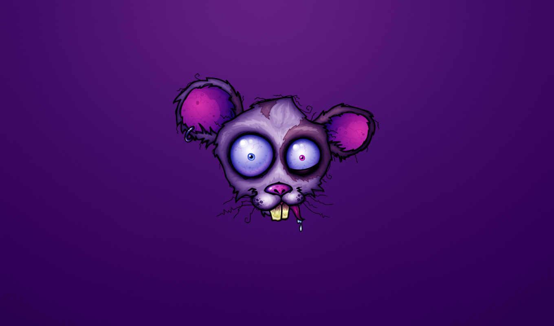 crazy, мышь, фиолетовый, бешенство, голова, mad,