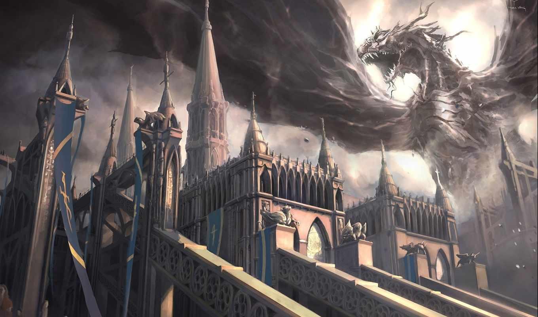 замок, монстр, пасть, арт, крылья, дракон, mark, yang,