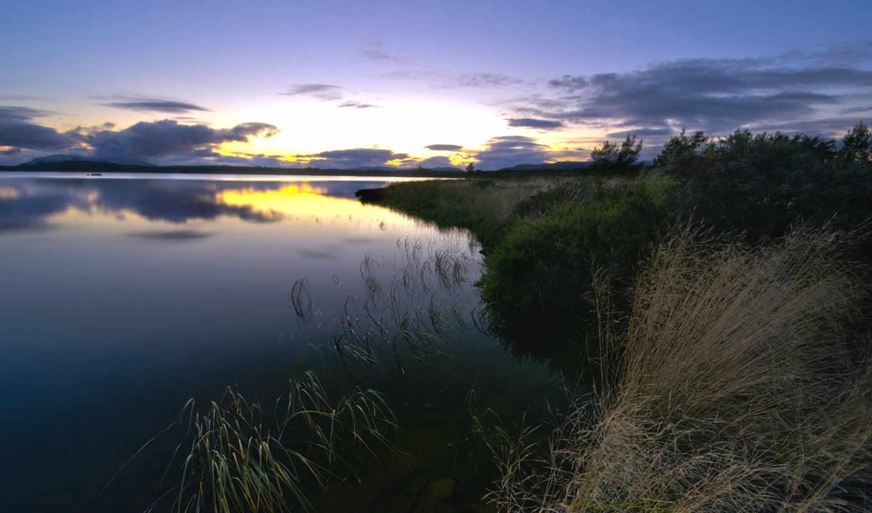 берег, трава, вечер, река, небо, облака, закат, вода, отражение, гладь, природа, пейзаж, lake,