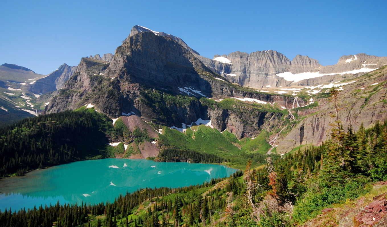 озеро, горы, пейзаж, природа, деревья, вода, вид,