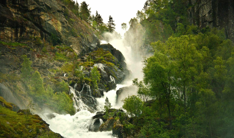 река, горная, горы, туман, лес, ручей, природа, водопад,