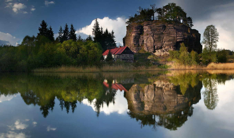 house, картинка, озеро, oblaka, деревя, озера, небо, отражение, дома,