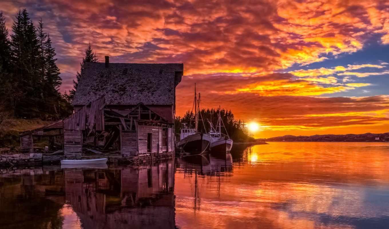 хороший, ночь, desktop, tore, boathouse, стена, high,