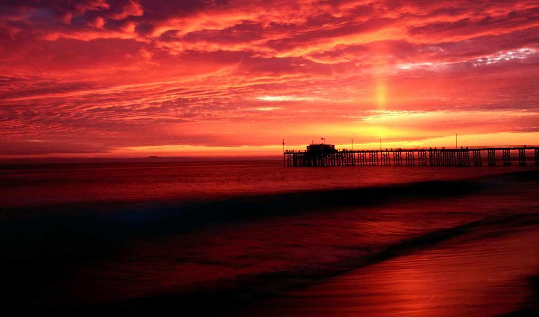 закат, природа, море,