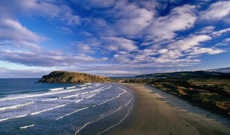 побережье, море, побережья, зеландия, новая, острова, остров, природа, день, океана,