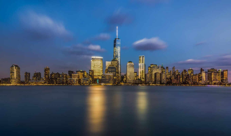 freedom, башня, ночь, skyline, new,