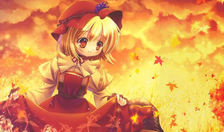 девушка, осень, поле, листья,