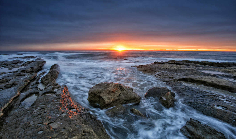 desktop, горизонт, закат, море,