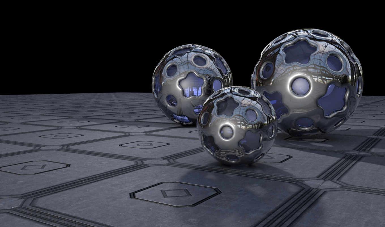 шары, стекло, изображение, графика, метал,