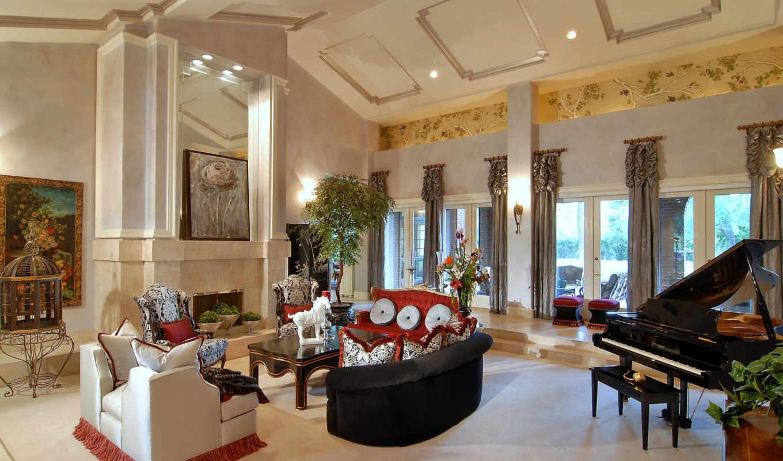 дизайн, интерьер, диван, гостиная, комната, подушки, картина, каждый,