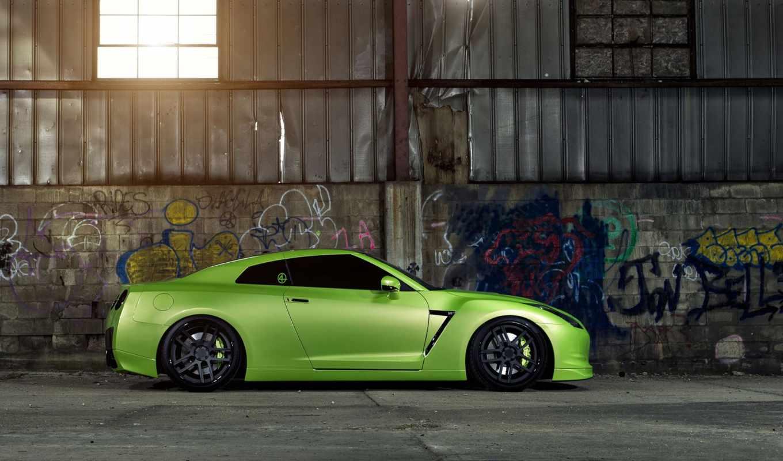 nissan, тюнинг, зелёный, wheels, gtr, окно, гараж,