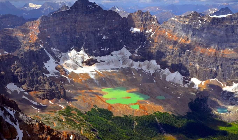 горы, сверху, взгляд, озеро, разных, закат, зеленое, water, мар, melting,