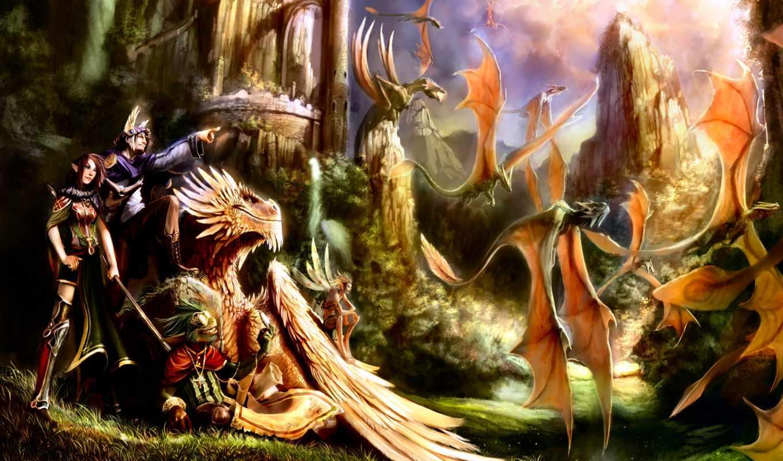 fantasy, пейзажи -, лучшая, коллекция, картинок, дракон, драконы, метки, castle,