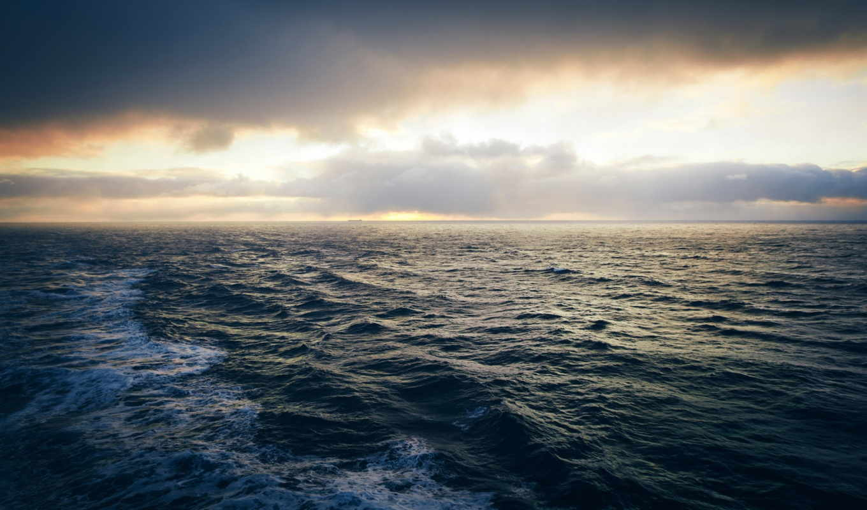 ocean, море, water, waves, природа, небо, широкоформатные, oblaka, landscape,