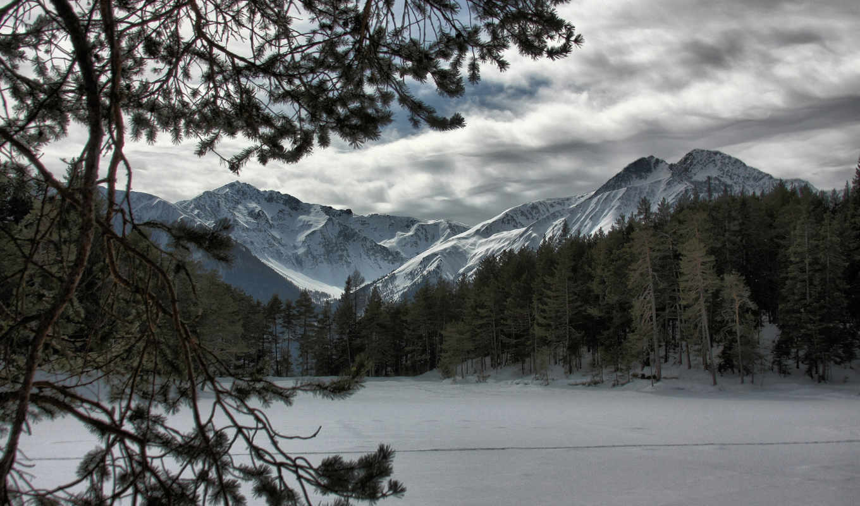 горы, зима, природа, пейзажи, снег, лес, картинка,