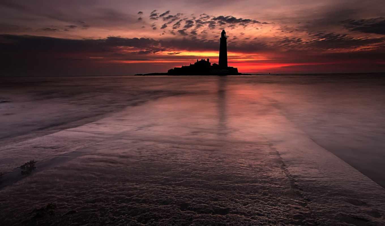 маяк, море, пейзаж, ночь, lighthouse, картинка,