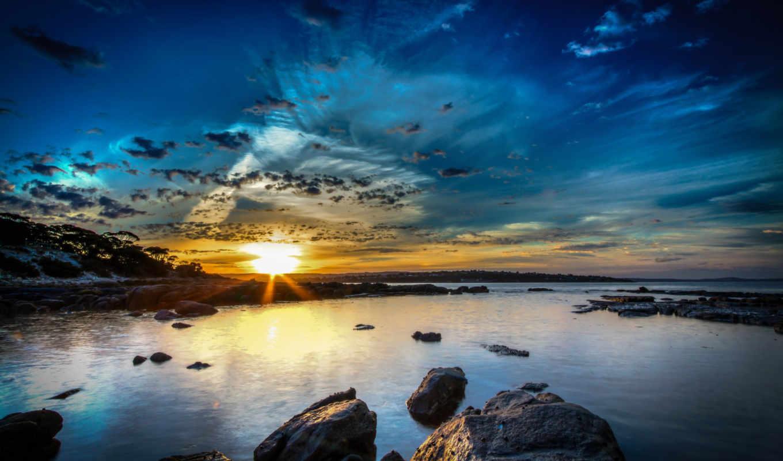 природа, небо, реки, австралия, побережье, water, рассветы, закаты, города, landscape, истинном,