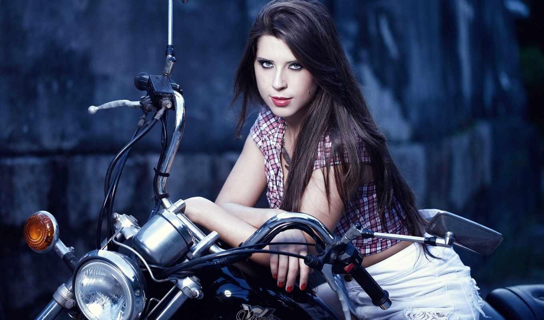 yamaha, virago, мотоцикл, andressa, взгляд, девушка,
