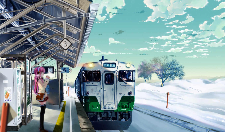 anime, поезд, поезда, машины,