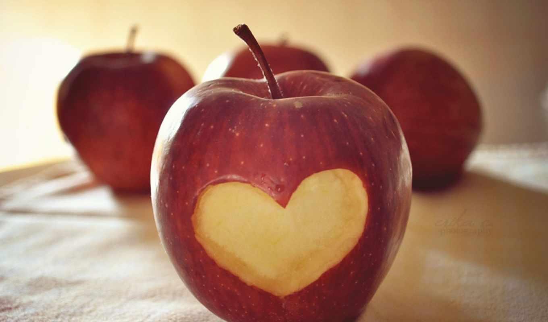 любовь, яблоко, ткань, красный