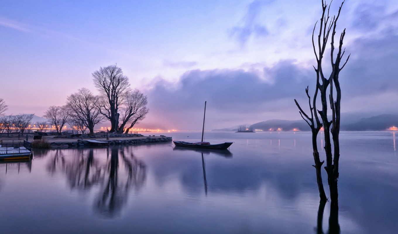 озеро, утро, отражение, лодка, туман, trees, дерево, рассвет, природа,