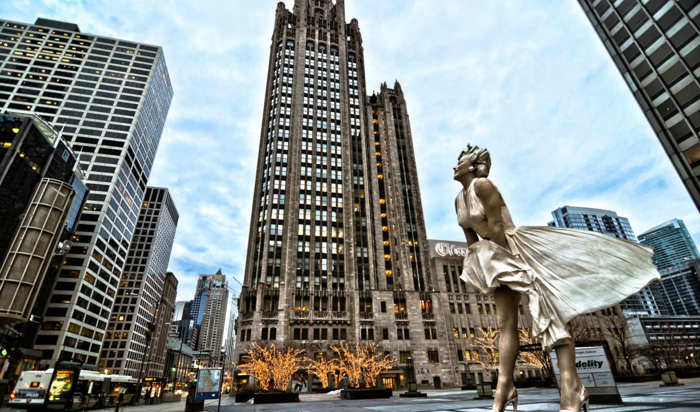 chicago, город, небоскребы, американский, монро, дома,