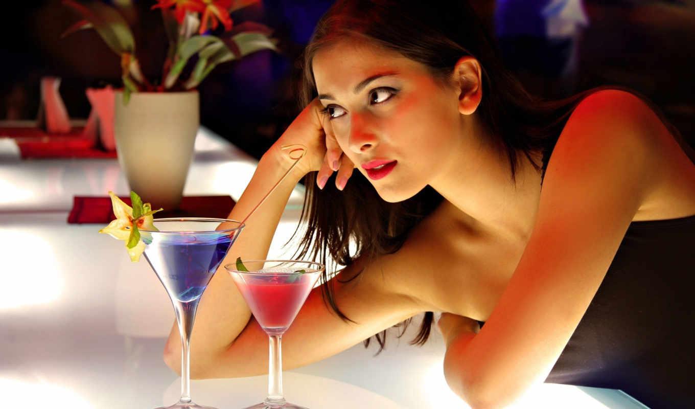 девушка, коктейли, внимание, расслабленность, за, сегодня, вечер,